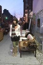 camel vintage frye boots - cream vintage sweater - coral Megan Nielsen shirt - g