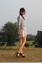blue madewell shirt - pink Jcrew belt - beige modcloth shorts - black Jeffrey Ca