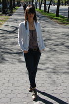gold my moms necklace - white Old Navy cardigan - purple madewell shirt - brown