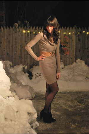 camel Lord & Taylor dress - black seychelles boots - black bloomingdales tights