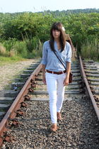 blue madewell shirt - brown Vintage 70s Purse accessories - brown Gap belt - whi