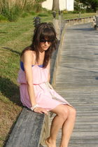 purple accessories - pink modcloth dress - beige vintage scarf