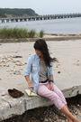 Blue-gap-shirt-blue-madewell-shirt-brown-belt-pink-jcrew-pants-yellow-vi