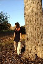 Megan Nielsen shirt - madewell dress - clydes rebirth accessories - vintage boot