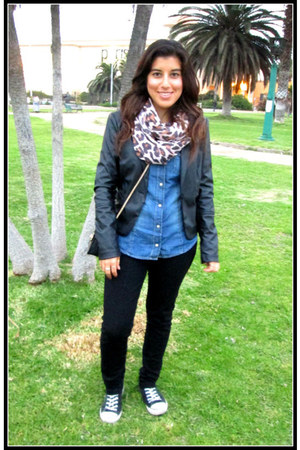 black Stradivarius jacket - blue H&M shirt - black apology pants