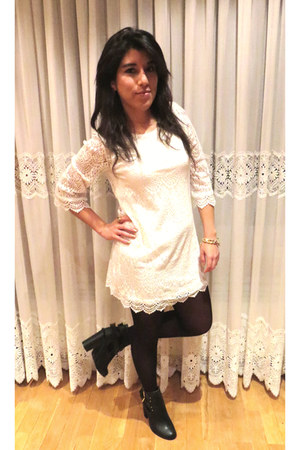 black Primark boots - white H&M dress - gold Claires bracelet
