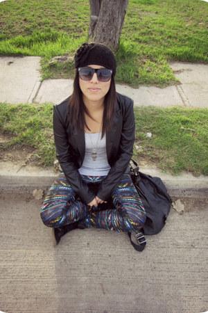 black Stradivarius jacket - BLANCO leggings - silver Pimkie shirt