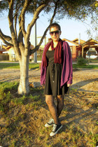 black Americanino dress - magenta Sybilla cape - black Kangaroos sneakers