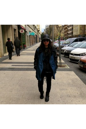 blue Bershka jacket - black Pimkie boots - black Zara sweater