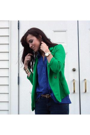 XTAREN blazer - navy Nordstrom jeans - blue monteau blouse