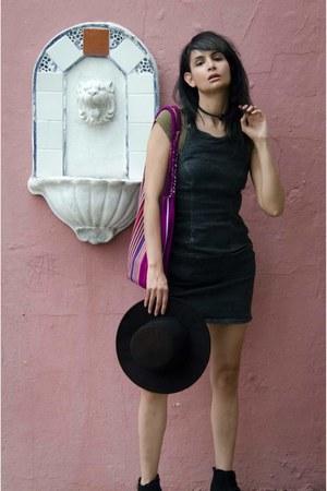 black black brim hat thrift hat