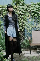 black duster vest - periwinkle High Waist Shorts shorts - white Striped Top top