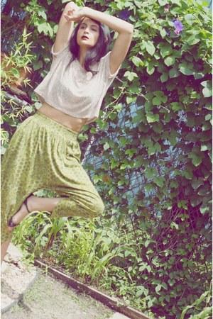 chartreuse harem pants vintage pants