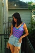 light blue thrifted vintage shorts - hot pink vintage swimwear