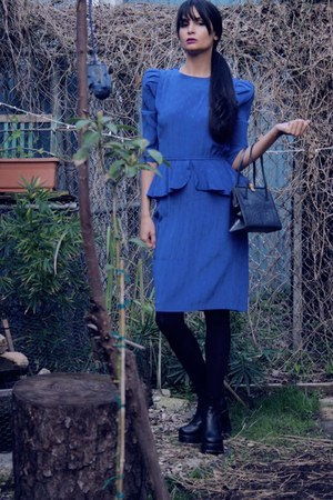 blue peplum dress vintage dress