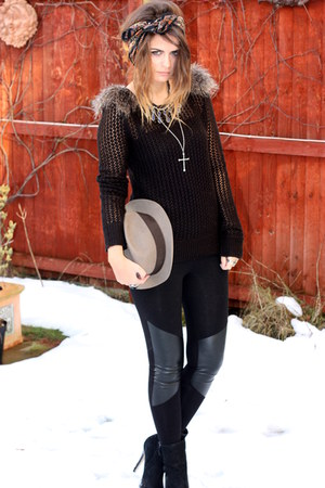 topshop jumper - topshop boots - vintage hat - hm leggings