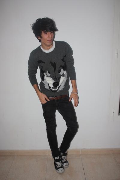 white H&M shirt - gray H&M sweater - brown balenciaga belt - black H&M jeans - b