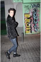 black Topman jacket - blue H&M jeans - black Levis boots