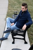 navy H&M cardigan - sky blue H&M jeans - gray le chateau sweater