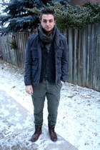 brown H&M boots - dark gray thrifted jacket
