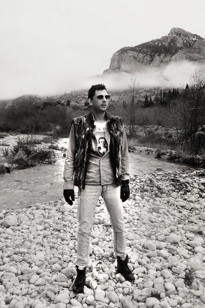 sky blue denim H&M shirt - black Topman boots - silver Insight jeans