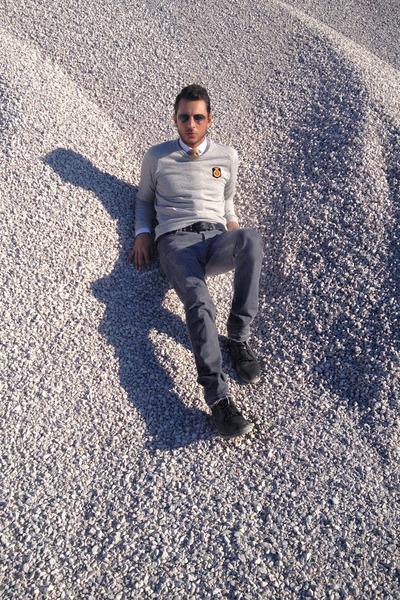 black Topman boots - heather gray Rick Owens jeans - off white Zara sweater