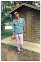 sky blue woolrich shirt - light pink Zara pants - light brown lanvin sandals