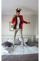 red MSGM blazer - silver Insight jeans - red Zara shirt
