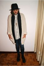 black vintage hat - yellow Zara cardigan - white H&M shirt - blue Zara jeans - b