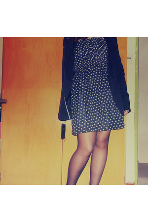 black purse - navy lemon dress - navy DNK blazer - black Germe panties