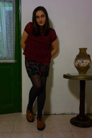 ruby red daniel cassin blouse - tawny MuaA shoes - gray Indian emporium tights