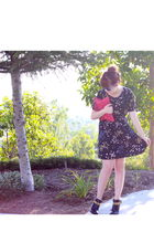 Urban Outfitters dress - red Steven by Steve Madden - black Dolce Vita shoes - b