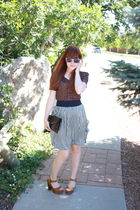red Urban Outfitters blouse - blue Zara skirt - brown Jeffrey Campbell shoes - b