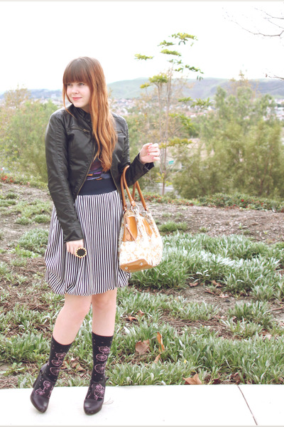 navy striped H&M skirt - black leather Urban Outfitters jacket