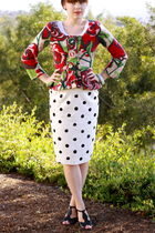 red Anthropologie cardigan - white vintage skirt - black shoes