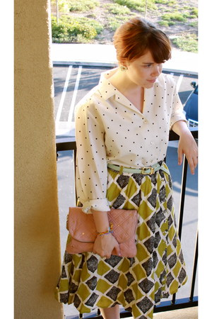 vintage blouse - lime green Anthropologie skirt - light blue vintage belt - ligh