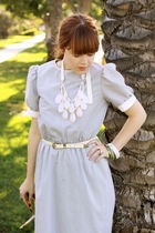 vintage dress - white vintage belt - white Forever 21 necklace - blue Anthropolo