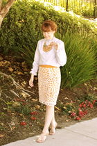 blue vintage blouse - orange Anthropologie skirt - beige Paolo shoes - orange An