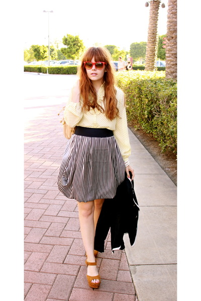 blue Forever 21 blazer - brown Jeffrey Campbell shoes - blue stripped H&M skirt