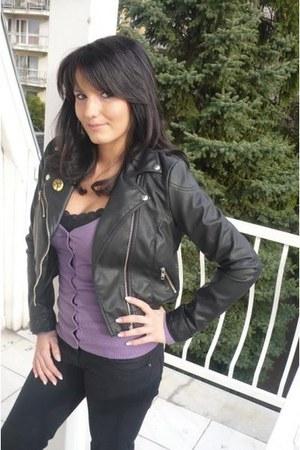 amethyst Bershka cardigan - black H&M jacket - dark gray H&M jeans