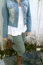 blue Heritage 1981 jacket - green pants - white Forever 21 shirt - brown boots -