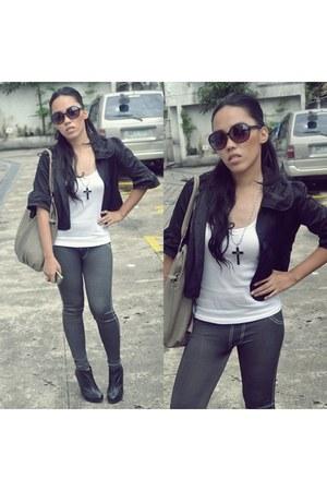 black sunglasses - white blouse