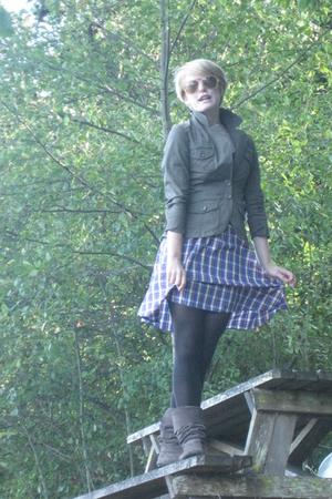 green H&M jacket - Anthropologie skirt - gray Steve Madden boots - pink vintage