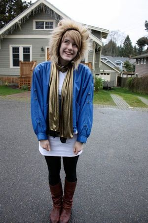 blue vintage jacket - white dress - gold scarf
