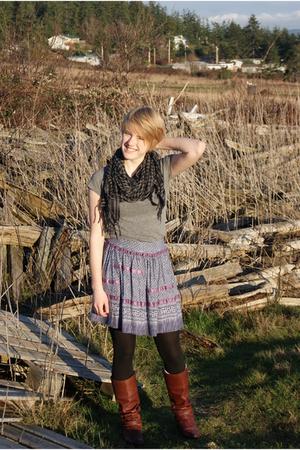 Urban Outfitters skirt - Thriftstore scarf - brass plum boots