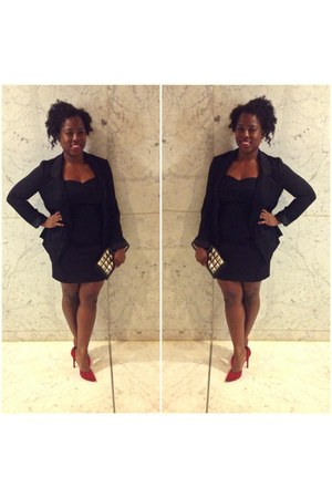 black H & M blazer - strapless H & M dress - red Guess pumps