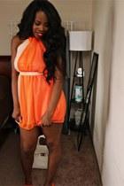 nude dress - white purse - carrot orange mary jane pumps