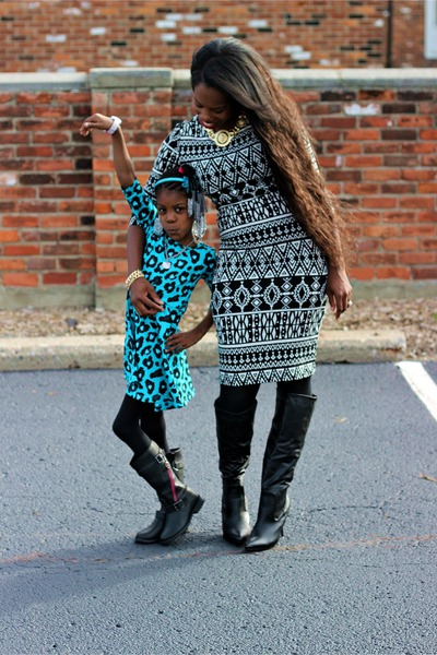 black knee high boots - black knee high boots - turquoise blue dress