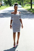 bracelet - striped bodycon dress - graphic pumps