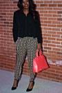 Black-blazer-coral-gramercy-bag-black-blouse-bronze-patterned-pants